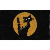 Black Cat Moon Doormat