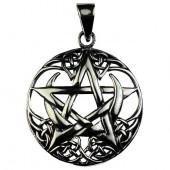Silver Crescent Moon Pentagram Pendant