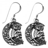 Silver Owl On Moon Earrings