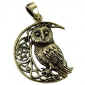 Owl Moon Bronze Pendant