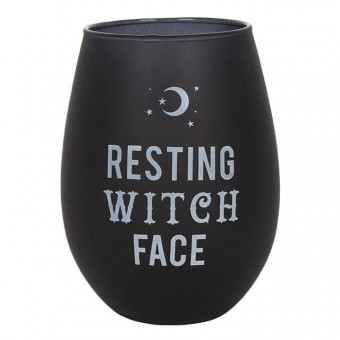 -Resting Witch Face Wine Glass