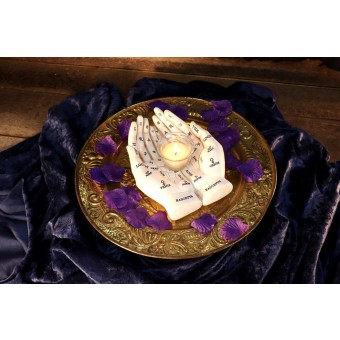 Palmists Guide White Candle Holder