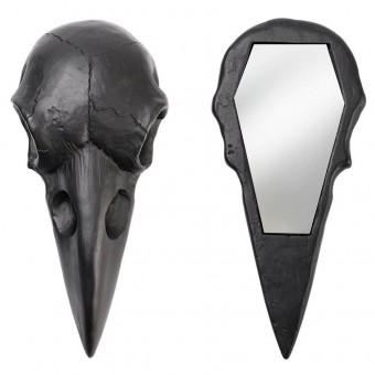 Alchemy Gothic-Raven Skull Black Hand Mirror