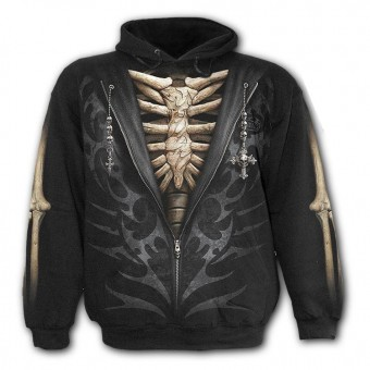 Spiral Direct-Unzipped Skeleton Hooded Top