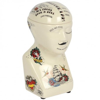 Something Different-Phrenology Head Storage Jar