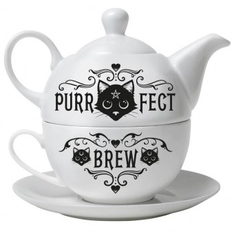 -Purrfect Brew Hex Tea Set