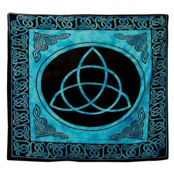 Turquoise Triquetra Double Bedspread