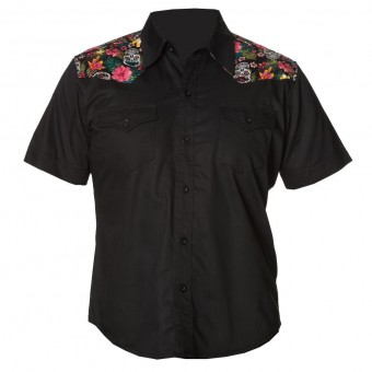 Banned Apparel-Tiki Skull Western Shirt