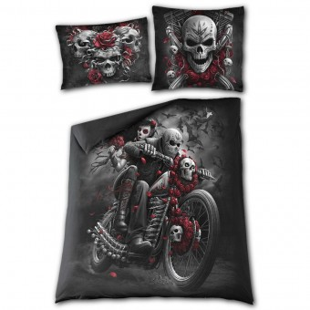 Spiral Direct-Skulls N Roses Double Bedding Set