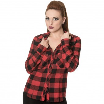 Red Breaking Rules Check Shirt