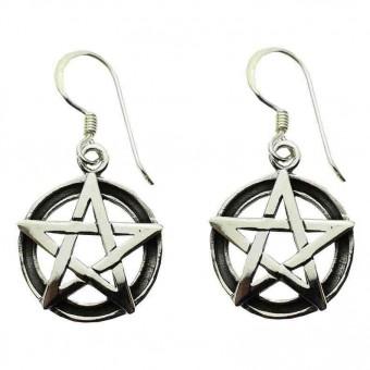 Phoenixx Rising-Silver Pentagram Earrings