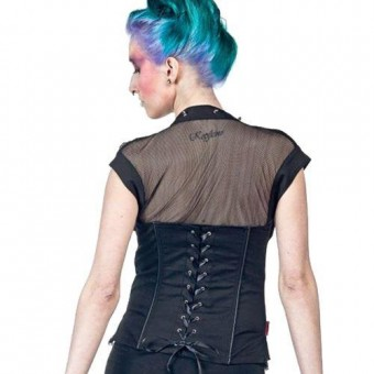 Spiked Fishnet Corset Top